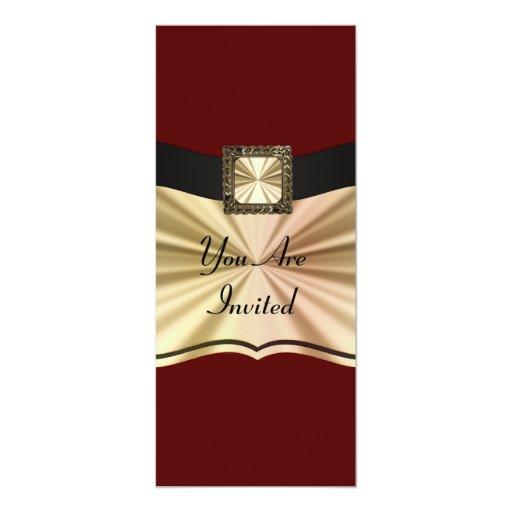 Rojo elegante y oro cualquier ocasión invitación 10,1 x 23,5 cm