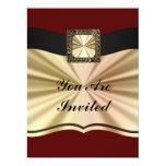 Rojo elegante y oro cualquier ocasión invitación 16,5 x 22,2 cm
