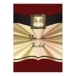 Rojo elegante y oro cualquier ocasión invitación 12,7 x 17,8 cm