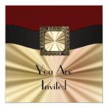 Rojo elegante y oro cualquier ocasión invitación 13,3 cm x 13,3cm