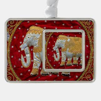 Rojo embellecido y oro del elefante indio adornos navideños