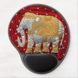 Rojo embellecido y oro del elefante indio alfombrilla de raton con gel