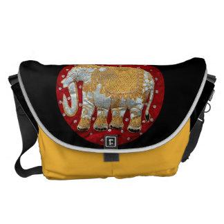Rojo embellecido y oro del elefante indio bolsa de mensajería
