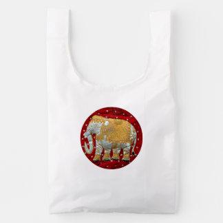 Rojo embellecido y oro del elefante indio bolsa reutilizable