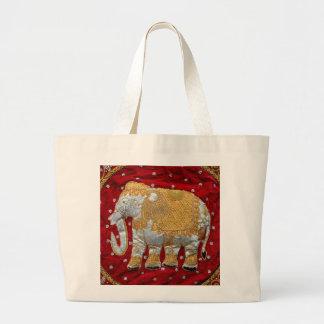 Rojo embellecido y oro del elefante indio bolsa tela grande
