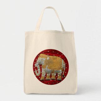 Rojo embellecido y oro del elefante indio bolsa tela para la compra