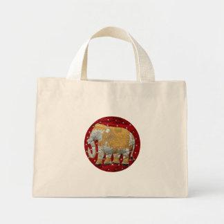 Rojo embellecido y oro del elefante indio bolsa tela pequeña