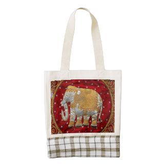Rojo embellecido y oro del elefante indio bolsa tote zazzle HEART
