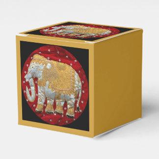 Rojo embellecido y oro del elefante indio caja para regalo de boda