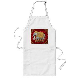Rojo embellecido y oro del elefante indio delantal largo