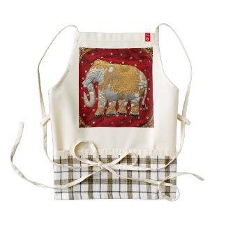 Rojo embellecido y oro del elefante indio delantal zazzle HEART