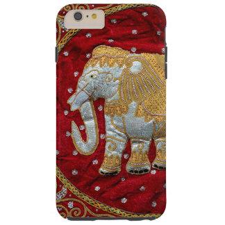 Rojo embellecido y oro del elefante indio funda resistente iPhone 6 plus