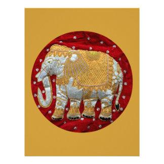 Rojo embellecido y oro del elefante indio membrete
