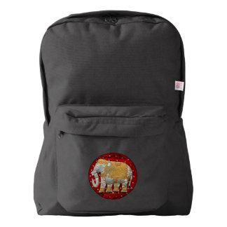 Rojo embellecido y oro del elefante indio mochila