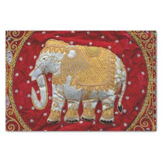 Rojo embellecido y oro del elefante indio papel de seda pequeño