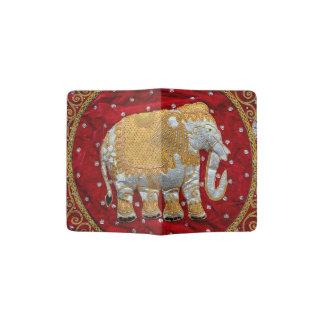 Rojo embellecido y oro del elefante indio porta pasaporte