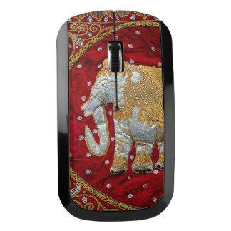 Rojo embellecido y oro del elefante indio ratón inalámbrico