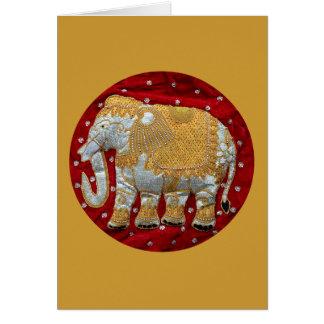 Rojo embellecido y oro del elefante indio tarjeta de felicitación