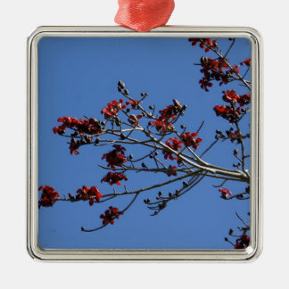 Rojo en azul adorno navideño cuadrado de metal