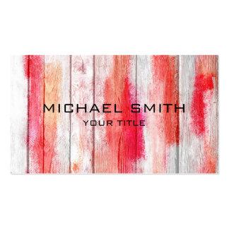 Rojo en colores pastel en la madera #2 tarjetas de negocios