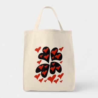 Rojo en corazones negros bolsa tela para la compra