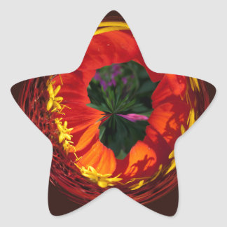 Rojo en el globo pegatina en forma de estrella