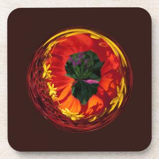 Rojo en el globo posavasos de bebidas