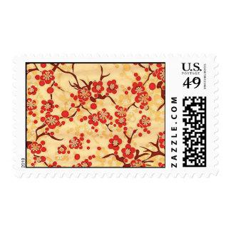 Rojo en floral japonés del vintage fino amarillo sello