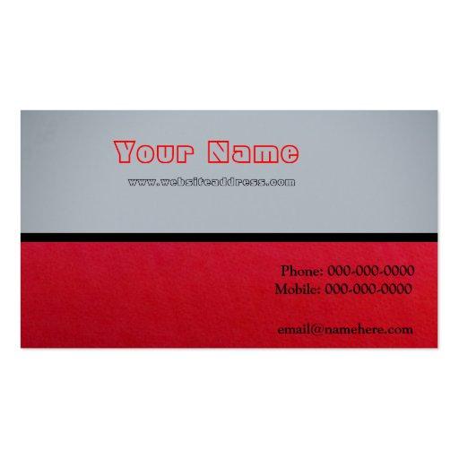 Rojo en gris en rojo tarjetas de visita