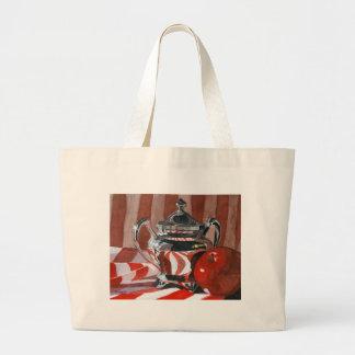 Rojo en las reflexiones de plata bolsa tela grande
