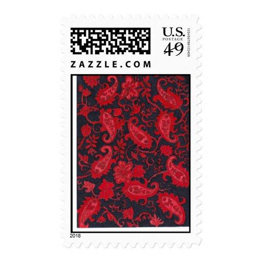 Rojo en sello negro de Paisley
