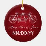 Rojo en tándem de la bici del favor elegante del b adornos de navidad
