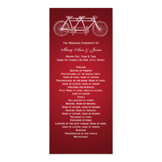 Rojo en tándem de la bici del programa simple del invitación personalizada