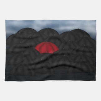 Rojo en un Mar Negro de paraguas Toalla De Cocina