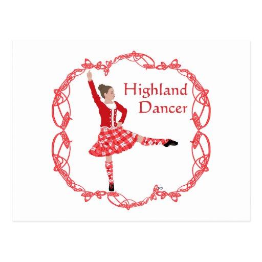 Rojo escocés de Knotwork del Celtic del bailarín Postal