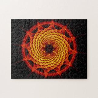 Rojo espiral de la mandala de Merkaba (geometría d Rompecabezas Con Fotos