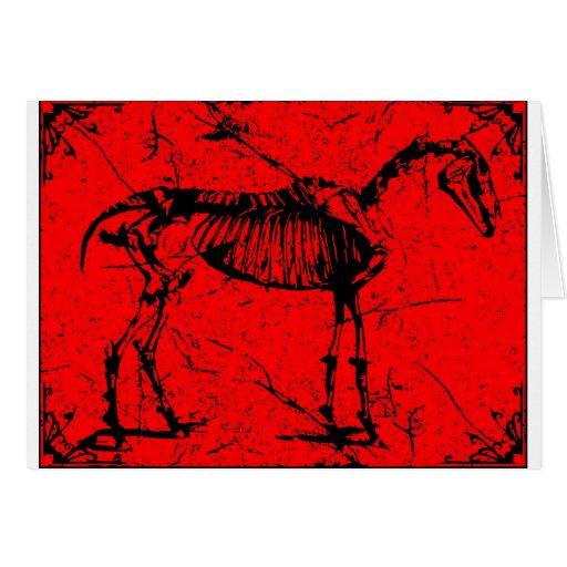 Rojo esquelético del caballo tarjeta de felicitación