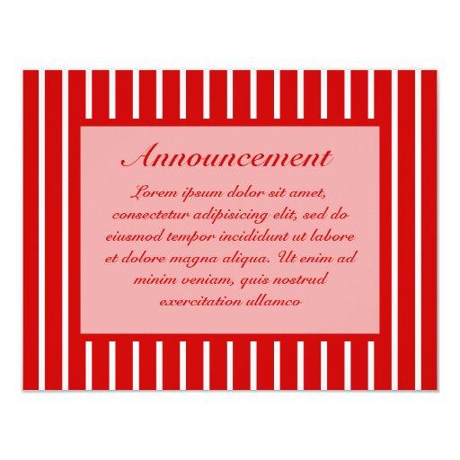 Rojo estrecho de la raya + Color de encargo Invitación 10,8 X 13,9 Cm