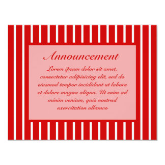 Rojo estrecho de la raya + Color de encargo Invitacion Personal