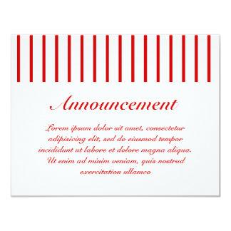 Rojo estrecho de la raya + Color de encargo Invitaciones Personales