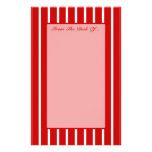Rojo estrecho de la raya + Color de encargo Papelería