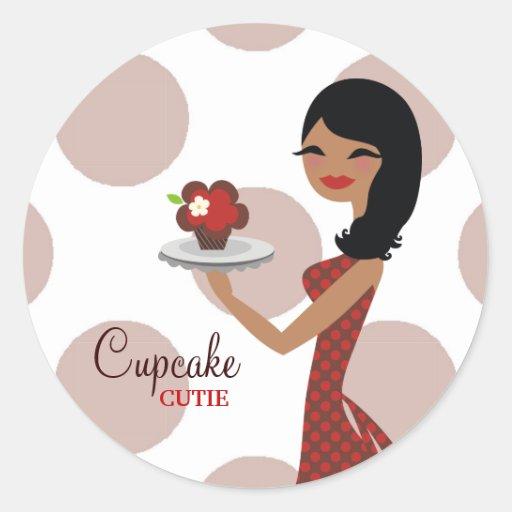 rojo étnico de 311-Cupcake Cutie el   Pegatina Redonda