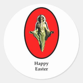 Rojo feliz de Cantorbery de la imagen de Pascua Pegatina Redonda
