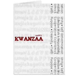 Rojo feliz moderno de Kwanzaa Tarjeta De Felicitación