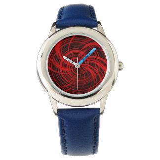 Rojo feliz, negro (c) reloj de mano