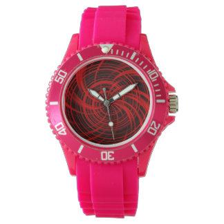 Rojo feliz, negro (c) relojes de pulsera