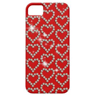 Rojo femenino del corazón del diamante iPhone 5 Case-Mate fundas