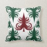 Rojo festivo del verde del modelo del árbol de nav almohada
