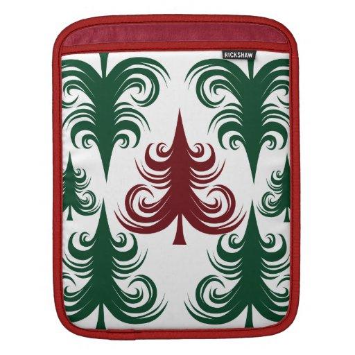Rojo festivo del verde del modelo del árbol de nav fundas para iPads