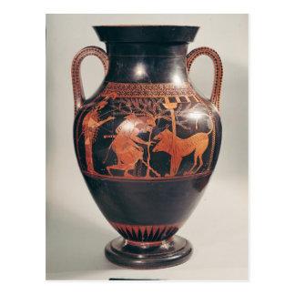 Rojo-figura amphora del ático del vientre postal